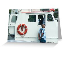 Lifesaver ring and crew on the IJmuiden - close-up Greeting Card
