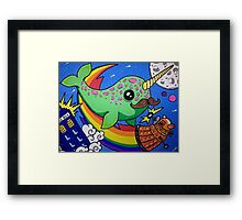 Narwhal in Space Framed Print