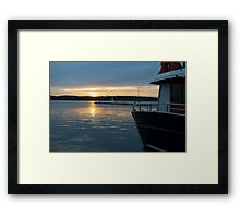 Sea Sunset with Boat in Harbour Framed Print