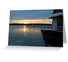 Sea Sunset with Boat in Harbour Greeting Card