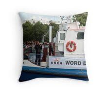 Photographers, lifesaver ring and crew on the IJmuiden Throw Pillow