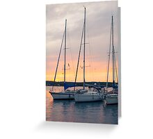 Sunset with Sailboats Vertical Greeting Card