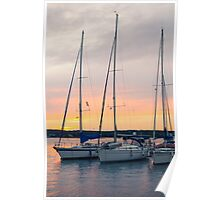 Sunset with Sailboats Vertical Poster