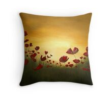 Poppies in the Rising Sun Throw Pillow