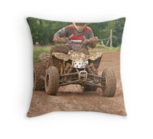 Quad Biker on track Throw Pillow