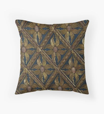 Faces on old ceiling in Venice Throw Pillow