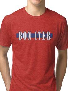 BON IVER - Stripe Logo  Tri-blend T-Shirt