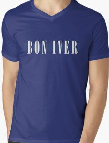 BON IVER - Stripe Logo  Mens V-Neck T-Shirt