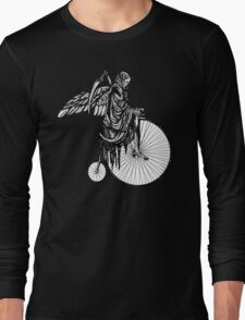 Death Rides an Old Timey Bike Long Sleeve T-Shirt