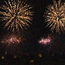 Fire Works Show Stippled Paint 2 FRANCE by Dawnsuzanne