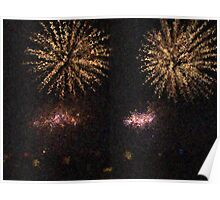Fire Works Show Stippled Paint 2 FRANCE Poster