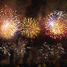 Fire Works Show Stippled Paint 3 FRANCE by Dawnsuzanne