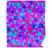 Pink and Blue checkerboard with circles Poster