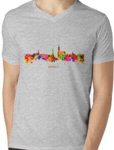 Antwerp Watercolour Skyline Mens V-Neck T-Shirt