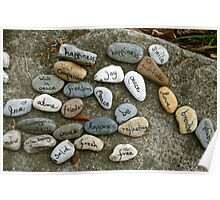 Peace messages on pebbles Poster