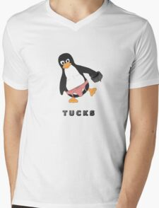 Tucks the penguin Mens V-Neck T-Shirt