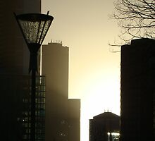 Winter cityscape in the late afternoon with lantern - Melbourne by PenguinVic
