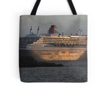 RMS Queen Mary 2 at Sunset Tote Bag