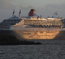 RMS Queen Mary 2 at Sunset by Maria Gaellman