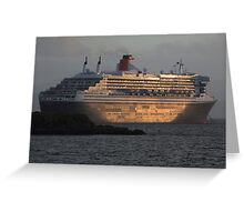 RMS Queen Mary 2 at Sunset Greeting Card