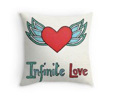 Winged heart Love design retro cute love design Throw Pillow