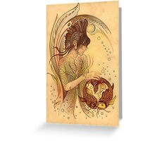 """THE PISCES"" - Protective Angel for Zodiac Sign Greeting Card"