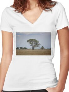Lone Tree On the Prairie Women's Fitted V-Neck T-Shirt
