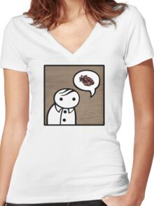 verge anatomically correctly loves you Women's Fitted V-Neck T-Shirt