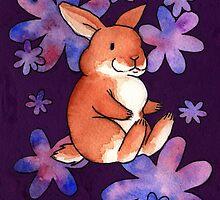 Bunnies & flowers 02 by Jazmine Phillips