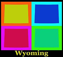 Colorful Wyoming Pop Art Map by KWJphotoart