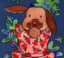 Bunnies & flowers 04 by Jazmine Phillips