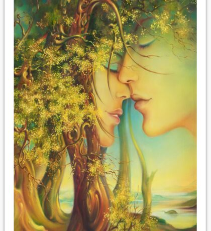 """"""" An Encounter at the Edge of the Forest"""" - postcard & greeting card Sticker"""