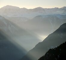 Misty mountains of Switzerland by Catherine Ames