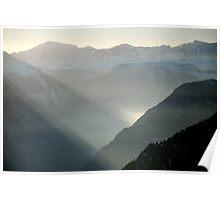 Misty mountains of Switzerland Poster