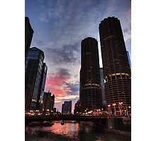 Chicago River Sunset 003 Photographic Print