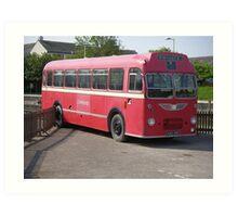 Old Red Bus near Ravenglass Station, Cumbria Art Print