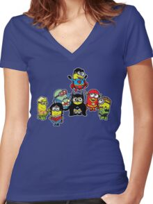 Justice League of Minions Women's Fitted V-Neck T-Shirt