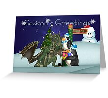 Dragon And Penguin Christmas Card Greeting Card