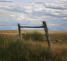 Fence Post and Hills by Vickie Emms