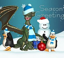 Cute Dragon And Penguin Christmas Card by Moonlake
