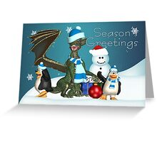 Cute Dragon And Penguin Christmas Card Greeting Card