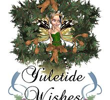 Yule Card With Cute Elven Fairy On Winter Wreath by Moonlake