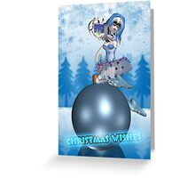 Gothic Rag Doll Christmas Card On Bauble Greeting Card