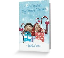 Santa's Little Eves With Gifts In The Snow Christmas Greeting Card