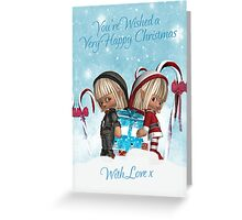 Two little Elves With A Christmas Gift - Card Greeting Card