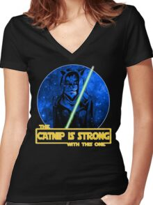 Catnip Is Strong With This One Women's Fitted V-Neck T-Shirt