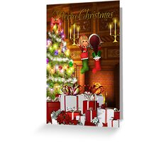 Christms Card - Elves In Christmas Stockings Greeting Card