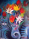 Still life with cats by Karin Zeller