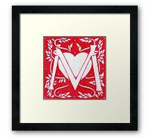 Red Heart Letter M Framed Print