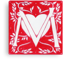 Red Heart Letter M Canvas Print